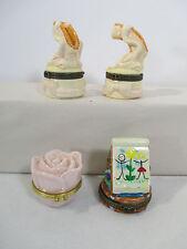 Trinket Boxes Art Easel Mary Kay Rose Ballet Slipper Porcelain Hinged Lot of 4