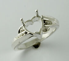 Semi Mount Heart Shape Ring 8.00 MM 925 Silver Wedding Lady Stunning Top Jewelry