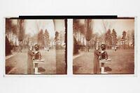 Pose Con El Perro Foto Placa Estéreo 6x13cm Vintage