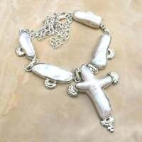 "Handmade Rare Natural Cross Biwa Pearl 925 Sterling Silver Necklace 21"" #N01728"