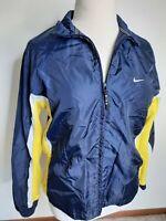 Nike Black Tag Windbreaker Full Zip Jacket Women's Size XL (16-18) Blue Yellow