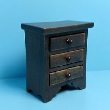 Dollhouse Miniature Walnut Nightstand / Side Table with Drawers ~ CLA10988