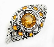 Art Deco Style Ring Sz 9, Fl4 New listing 1Ct Golden Citrine 925 Solid Sterling Silver