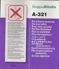 ALITALIA Italian Airline SAFETY CARD A 321 Folder brochure memorabilia sc805 aa