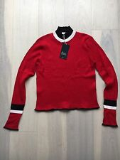 Zara Knitwear Turtleneck Red With Stripes Size L, New With Label