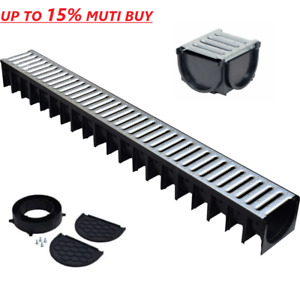 Drainage Channel 1m Heavy Duty Drain Galvanised Steel Top +Fittings