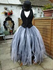 womens tutu skirt long tulle white over black gothic prom gypsy adult steampunk