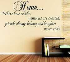 Home is Where Love Resides Wall Art Quote Decal Sticker Family Kitchen DIY B63