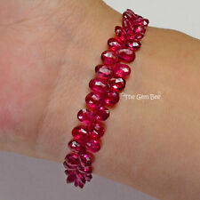 "14K Solid Yellow Gold Diamond Fine Natural Red Spinel Beads Bracelet 6.8"" inch"