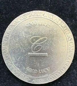 1985 JUPITERS CASINO Composite $1 POKER CHIP - CONRAD INTERNATIONAL HOTEL
