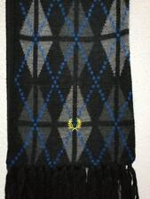 Vintage Fred Perry UK, 100% Wool, Argyle (pattern), Black/Greys/Blue Scarf