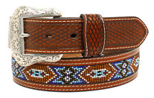 Nocona Western Mens Belt Leather Tooled Southwest Beaded Brown N2484408