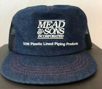 Vintage Trucker Mesh SnapBack MEAD & SONS INC PIPING DOW Jean Denim Hat Cap USA