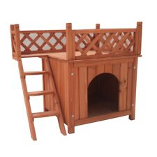 ALEKO Dog Kennel Cedar Pet Home Luxurious Side Steps Balcony Lounger 28X20X25In