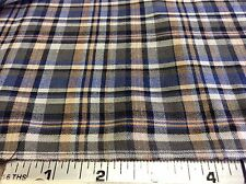 BROWN'S & BLUE COTTON PLAID--BY THE YARD