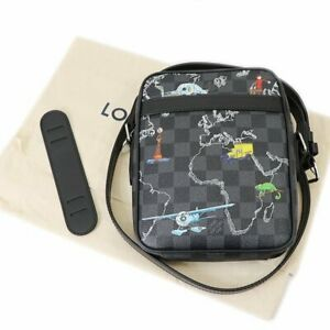 LOUIS VUITTON Danube PM NM Crossbody Bag Shoulder Damier Graphite World Map Mint