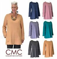 CMC by COLOR ME COTTON USA  5393 French Terry SLEEVE DETAIL TUNIC Top  2017 FALL