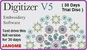 Janome Digitizer Embroidery Software 30 Day Trial Disc UK Version v5.0 Wilcom