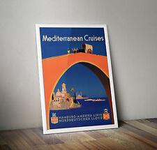 Vintage Travel Poster - Mediterranean Cruises Hamburg-America Line- A4