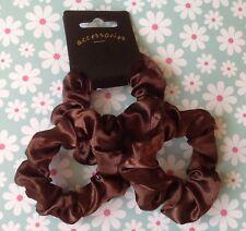 Pack 3 Brown Satin Fabric Scrunchie Hair Elastic Ponytail Bun Band School Work