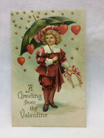 Vtg Embossed Girl Greeting Valentine Postcard Valentines Day Love Hearts