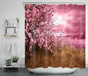 Pink Sky Cherry Tree Sea of Flowers Abstract Shower Curtain Set Bathroom Decor