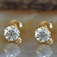2 Ct Round Cut Diamond 14K Solid Yellow Gold Women's Stud Push Back Earrings