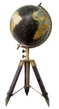"""12"""" Big World Globe With Antique Stand Item Vintage Nautical Authentic Decor Map"""