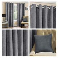 Grey Eyelet Curtains Silver Faux Suede Plain Luxury Lined Ring Top Curtain Pairs
