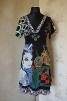 Womens Desigual dress M 10 12 patterned black casual stylish tunic waisted nice