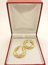 18k Solid Yellow Gold Italian Polished/Matte Twined Hollow Hoop Earrings 5.11Grs