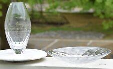 Royal Doulton Modernist Lot 2 Crystal Vase & Bowl Set Geometric