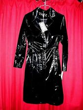 rare YAZZ shiny wet look black trench raincoat 38 chest screeches and squeals