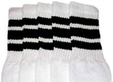 "30"" OVER THE KNEE WHITE tube socks with BLACK stripes style 1 (30-9)"