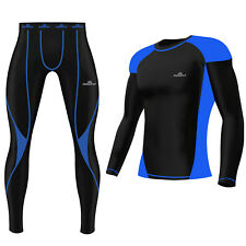 Mens Compression Tights Top Set Armour Base Layer Gym Fitness Under Full Suit Blue Shirt 2xl
