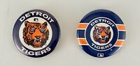 DETROIT TIGERS (2) PIN-BACKS BUTTONS GREAT CONDITION -  TIGER STADIUM