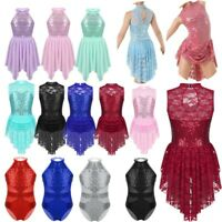 Girls Sequins Lyrical Ballet Dance Dress Kids Leotard Tarining Dancewear Costume