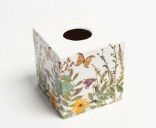 Butterfly Meadows Tissue Box Cover Holder square wooden handmade decoupaged uk