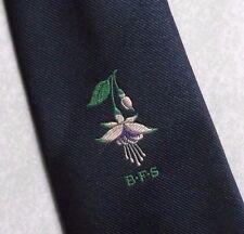 BRITISH FUSCHIA SOCIETY TIE VINTAGE RETRO NAVY BFS 1980s 1990s FLORAL FLOWERS