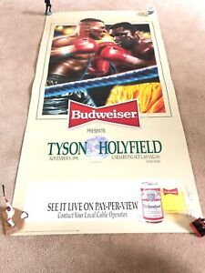 Original 1991 Evander Holyifield vs. Mike Tyson Canceled Fight Poster Boxing