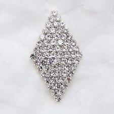 Rhinestone Crystal Rhombus Silver Wedding Bridal Dress Sash Brooch Pin