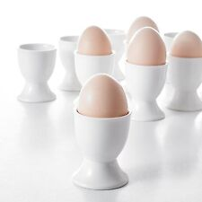 "24-Piece 2"" Egg Cups Ivory White Porcelain China Ceramic Egg Stand Plates Set"
