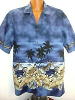 Pacific Legend 100% Cotton Blue Floral Hawaiian Shirt W/Motorcycles Tag XL USA