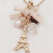 2PCS Eiffel Tower Pendant Bow Necklace Gold Plated Chain Jewelry Party Xmas Gift