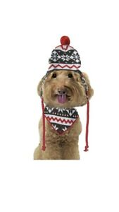 Fetchwear Red Snowflake Dog Accessory Hat Set X-Small/Small New