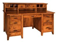 Amish Shaker Computer File Desk with Hutch Topper Solid Wood USA