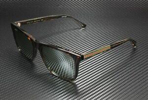 GUCCI GG0381S 008 Rectangular Havana Crystal Havan Silver 57 mm Men's Sunglasses