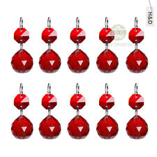 25 Red Glass Hanging Crystal Ball Prism Chandelier Feng Shui Drops Pendants 20mm