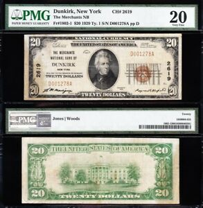 NICE *RARE* Bold VF 1929 $20 DUNKIRK, NY National Banknote! PMG 20! D001278A
