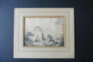 FRENCH SCHOOL 18thC - ANIMATED LANDSCAPE ATTR. LALLEMAND - FINE INK DRAWING